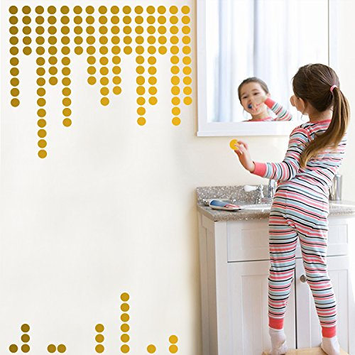 Gold Wall Decals Polka Dots Wall Stickers Vinyl Round Circle Art Stickers Removable Metallic Hanging Decor Decorations for Nursery Room ( 200 circles (Golden Dots)