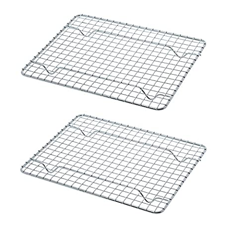 Great Credentials Heavy-Duty 1/4 Size Cooling Rack, Cooling Racks, Wire Pan Grade, Commercial Grade, Oven-Safe, Chrome, 8 x 10 Inches, Set of 2