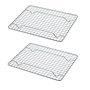 "UPI Heavy-Duty 1/4 Size Cooling Rack, Cooling Racks, Wire Pan Grade, Commercial Grade, Oven-Safe, Chrome, 8 x 10"", Set of 2"