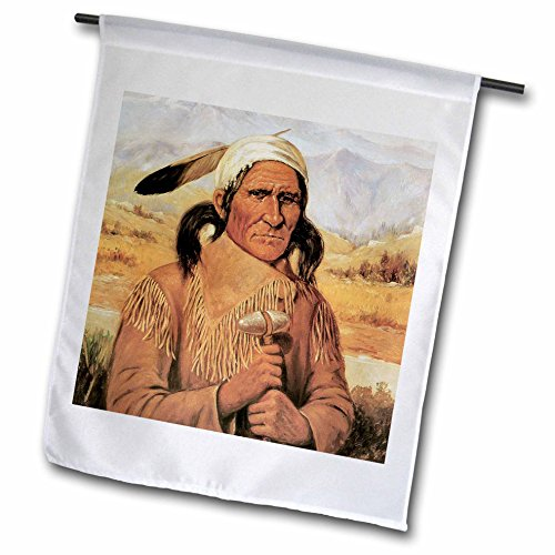 3dRose BLN American West Fine Art Collection - Geronimo by Henry Cross American West Native American - 12 x 18 inch Garden Flag (Native Garden Collection)