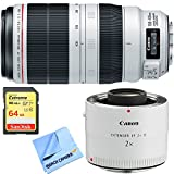 Canon EF 100-400mm f/4.5-5.6L IS II USM Lens (9524B002) w/ Extender + 64GB Card Bundle includes Lens, EF 2.0X III Telephoto Extender, 64GB Extreme SD Memory Card and Beach Camera Microfiber Cloth
