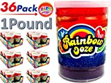 JA-RU Mega Rainbow Slime Ooze 1 Pound (Pack of 36) and one Bouncy Ball Glitter Slime Squishy Sticky and Stretchy | Item #4636-36p