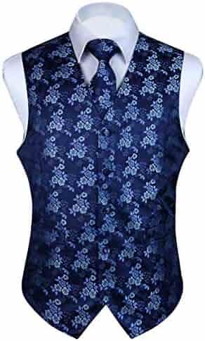 bc7a80d54bc15 HISDERN 3pc Men's Paisley Floral Jacquard Waistcoat & Necktie and Pocket  Square Vest Suit Set