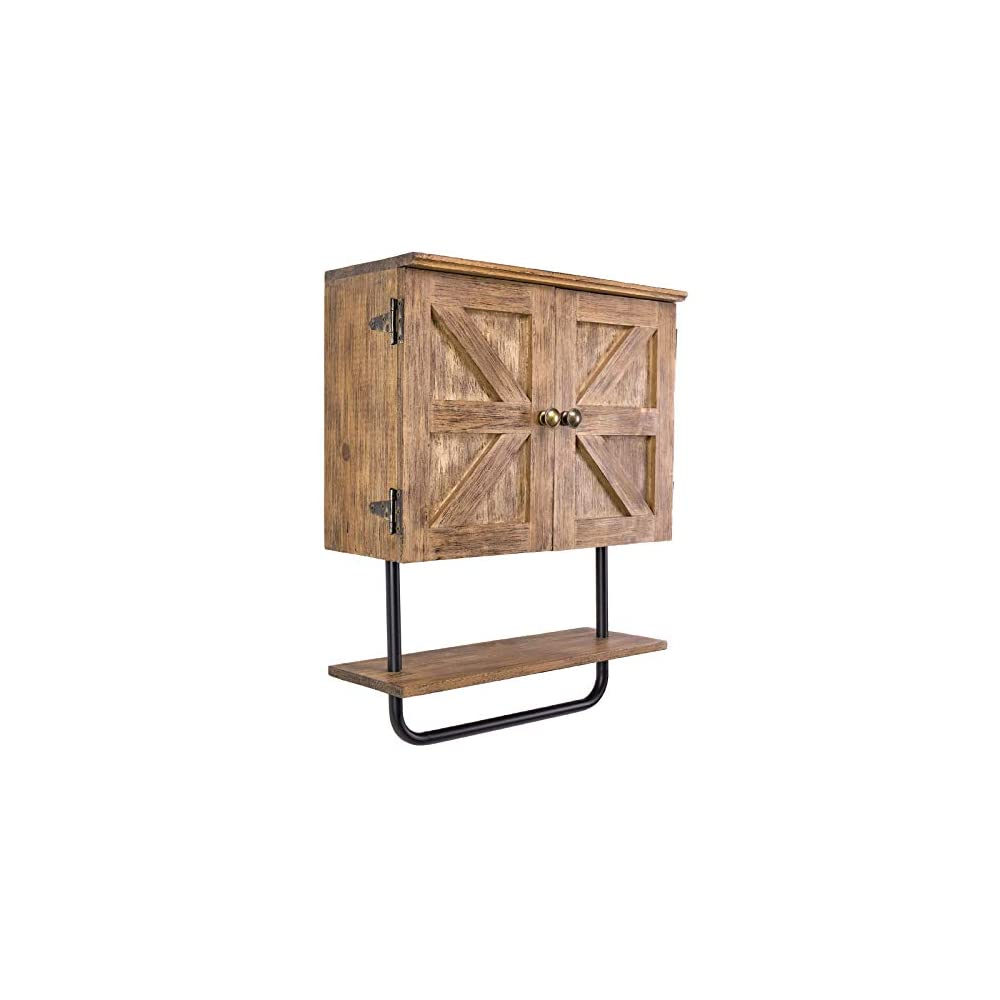 EXCELLO GLOBAL PRODUCTS Barndoor Bathroom Wall Cabinet, Space Saver Storage Cabinet Kitchen Medicine Cabinet with…