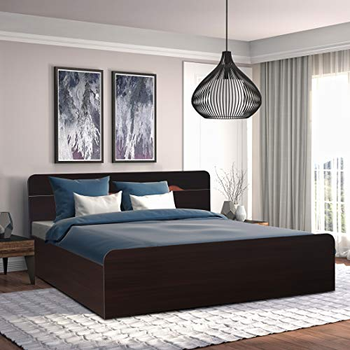 HomeTown Swirl Engineered Wood Box Storage Queen Size Bed in Denver Oak,Urban Teak Colour