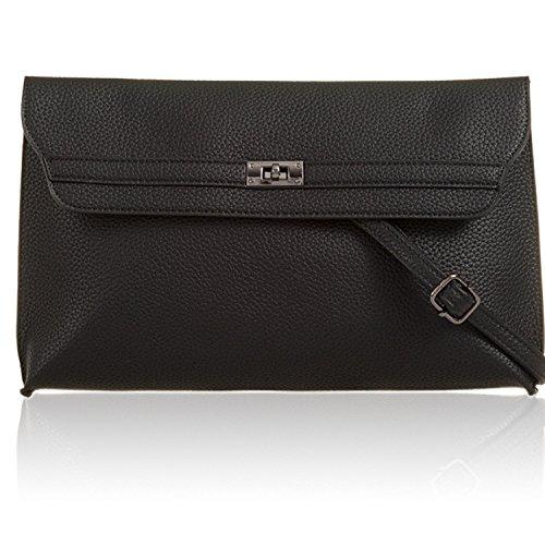 UK Strap Shoulder Prom Flat London Black Ladies Bags Evening Xardi Large Clutch Women Faux Leather CZwSxFxq