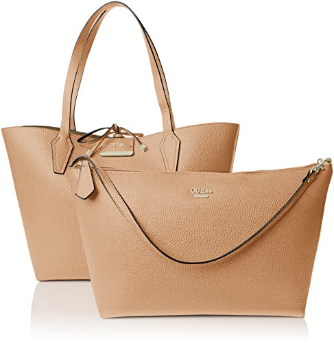 GUESS Bobbi Inside Out Tote, Bolso de Mano para Mujer, Talla Unica EU Multicolor (Camel Multi)