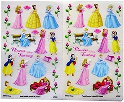 Sweet Disney Princess Stickers 24 Pieces, 1 Sheet, Approx. 1 inch ~*New*~