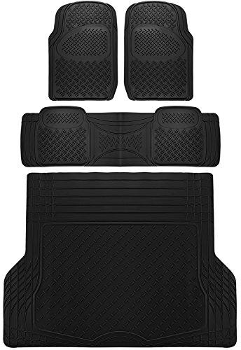 OxGord 4pc Rear Set Diamond Rubber Floor Mats, Universal Fit Mat for SUVs Vans- Rear Driver Passenger Side, Rear Runner and Trunk Liner Black ()