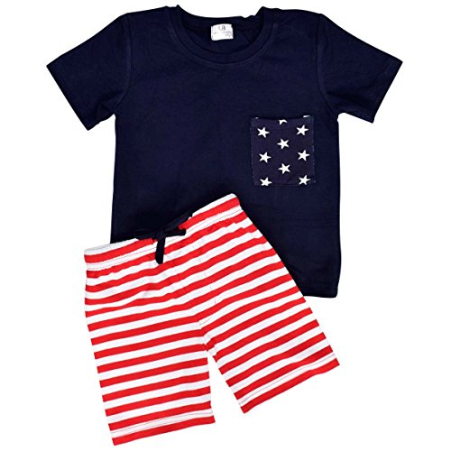 Unique Baby Boys Patriotic 4th of July 2-Piece Summer Outfit (12 Months, (Red White And Blue Outfits)