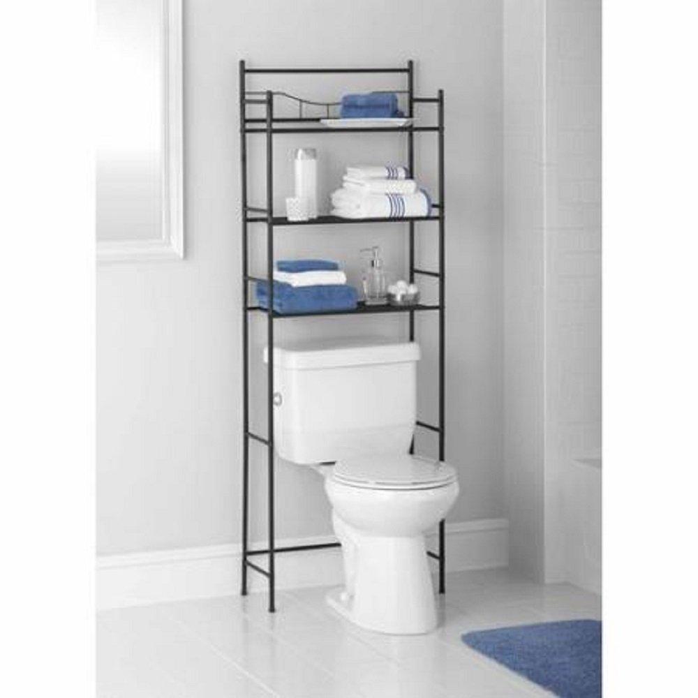 3-Shelf, Satin Nickel Mainstays 3-Shelf Bathroom Space Saver Fits Most Standard Toilets