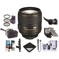 Nikon AF-S NIKKOR 105mm f/1.4E ED Telephoto Lens - U.S.A. Warranty - Bundle With 82mm Filter Kit, Flex Lens Shade, FocusShifter DSLR Follow Focus, MkII Focus Calibration System, Cleaning Kit, and More