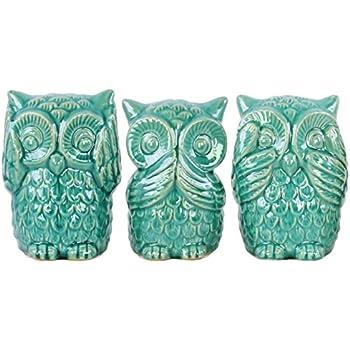 Urban trends ceramic owl no evil see speak hear figurine with gloss finish - Hear no evil owls ceramic ...