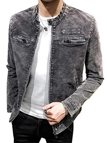MK988 Men's Moto Biker Casual Retro Stand Collar Solid Color Slim Fit Denim Jacket Coat Outerwear
