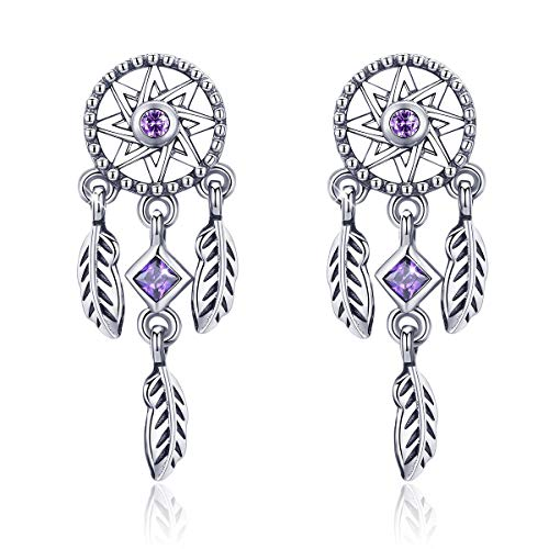 (FOREVER QUEEN Dreamcatcher Earring, 925 Sterling Silver Feather Pendant Stud Earring with Purple CZ Gift for Girls Women)