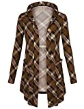 Bebonnie Business Casual Cardigans Blouse, Women's V Neck Long Sleeve Knit Open Front Plaid Hooded Cardigan One-Button Pockets Wrap Coat Coffee Coffee X-Large