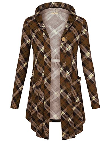 Hooded Wrap Cardigan - Bebonnie Business Casual Cardigans Blouse, Women's V Neck Long Sleeve Knit Open Front Plaid Hooded Cardigan One-Button Pockets Wrap Coat Coffee Coffee X-Large