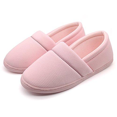 Women's Or Big Girl's Cotton Soft Sole Indoor Slippers Comfort Anti-Slip Spring Summer Autumn House Shoes for Bedroom, Living Room (EU35-36:Women4-5 & Big Kid3.5-4, Pink)