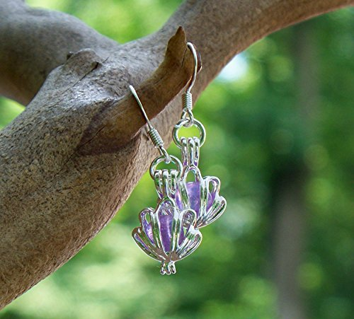 (Recycled Antique Purple Medicine Bottle Seashell Earrings)