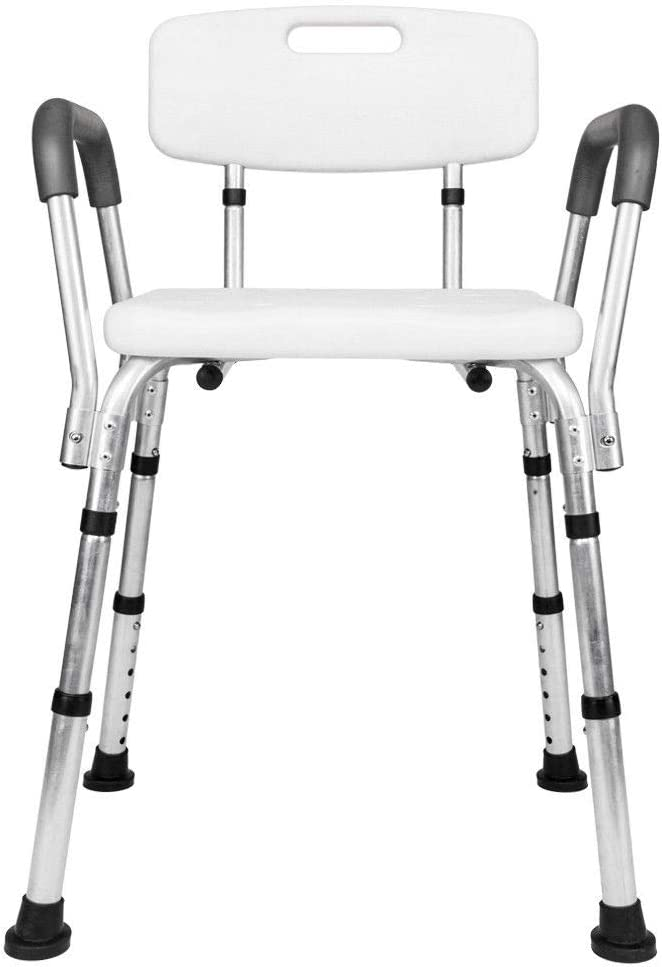 Adjustable Shower Chair Bathtub Bench Bath Seat Stool with Armrest Back