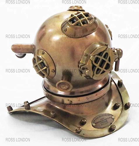 Navy Diver Helmet - ROSS LONDON Antique Copper Brass Mini Divers Diving Helmet Vintage US Navy Mark V Deep Sea