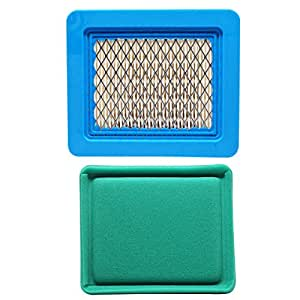 Replacement Briggs & Stratton 12C800 Series Engine Air Filter & Pre-Cleaner - Compatible Briggs & Stratton 491588S Filter & 493537S Pre-Filter