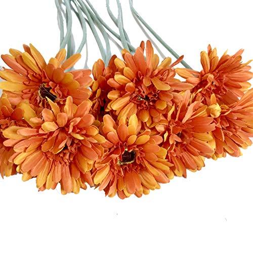 (Rae's Garden Artificial Flowers Realistic Fake Flowers Gerbera Daisy Bridal Wedding Bouquet for Home Garden Wedding Party Decorations 10 Pcs (Orange))