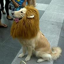 Merssavo Pet Costume Lion Mane Wig Dog Cat Halloween Clothes Fancy Dress up with Ears
