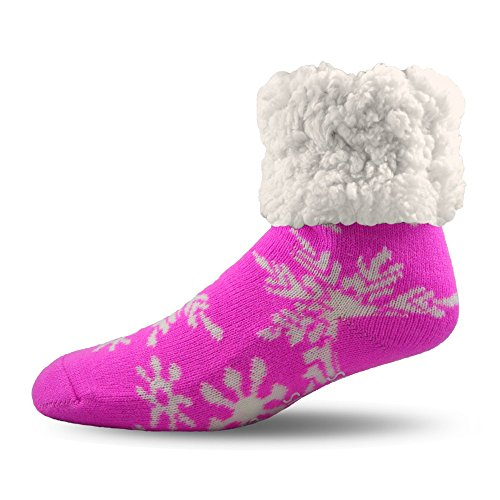 Pudus Snowflake Pink Cozy Winter Slipper Socks for Women and Men with Non-Slip Grippers and Faux Fur Sherpa Fleece - Adult Regular Fuzzy Socks from Pudus