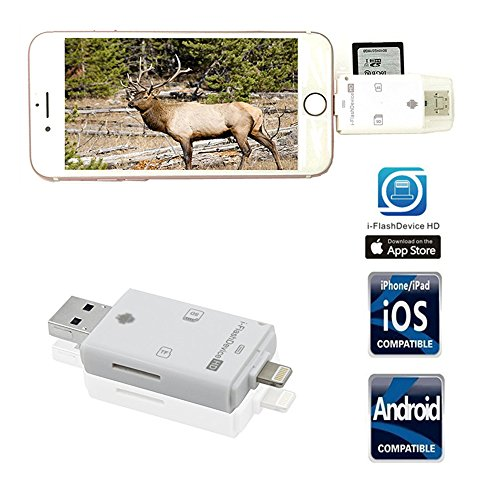 Trail Camera SD Card Reader Viewer- TUOP 3 in 1 Micro SD / TF / SD Card Reader for iPhone / iPad / PC / Android and Samsung Other Smartphone tablet Devices - Friends File