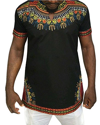 Gtealife Men's African Print Dashiki T-Shirt Tops Blouse (Black, L)