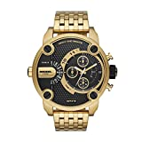 Diesel Men's Watch Little Daddy Quartz Stainless Steel Gold with Black Dial DZ7412