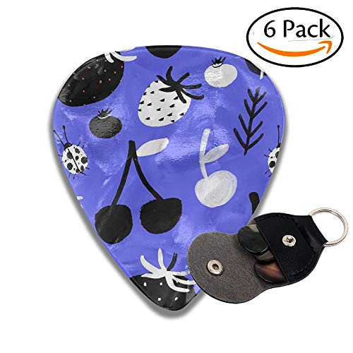 (Janeither Celluloid Guitar Picks Strawberry Cherry Ladybug Pattern Cool Stylish Guitar Accessories 6 Pack For Acoustic, Electric, Original And Bass Guitars)