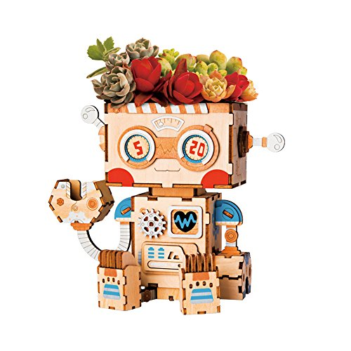 ROBOTIME Decorative Small Wooden Puzzle Kits Garden Plastic Flower Pots with Hole and Tray for Home Decoration (Robot)