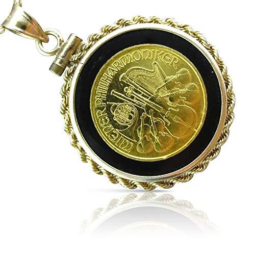 Milano Jewelers Onyx 22K & 14K Yellow Gold 1991 Wiener PHILHARMONIKER Musical Coin Pendant ()