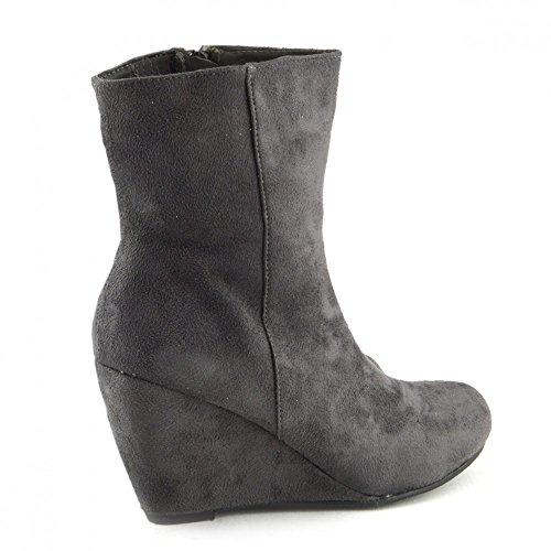 Damen Stiefel Damen Schuhe Knöchel hohe wedges heels smart zip ups bootie-neue Größe Grau