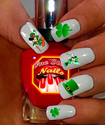 (St Patrick's Day Nail Art Decals (Tattoo). Shamrock, Clover, Mickey & Minnie Mouse. Set of 47 Waterslide Nail Art Decals. OSN-SPD001-47 by One Stop)