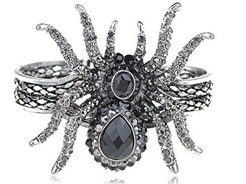 [Alilang Silvery Metal Rhinestone Spider Bangle Bracelet Halloween] (Make Black Widow Costumes)