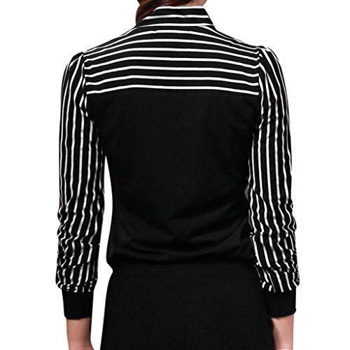 Chemise Body Rond Xmiral Longues Rayures Chemisier Noir Manches Femme Col pxvwWBw