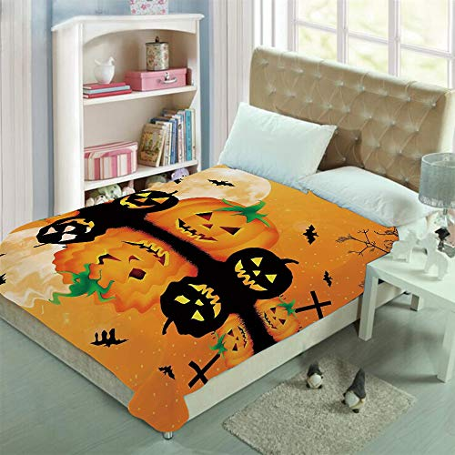 Double-sided Stylish pattern printed Throw Blanket Custom Design,Carved Halloween Pumpkin Full Moon with Bats,Well keep warm with supersoft hand feeling ,add a lot of color to your life(59