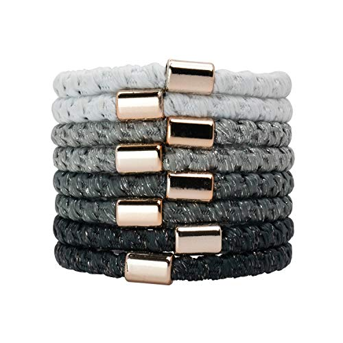 Kitsch Perfect Ponytail Holder, Hair Ties for Thick Hair, Elastic Hair Ties, Hair Rubberbands, 8pcs (Silver)