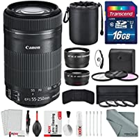 Canon EF-S 55-250mm f/4-5.6 IS STM Lens Bundle with Telephoto Lens, Wide Angle Lens, 58mm Filters and Accessories - USA Warranty