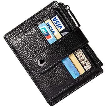 HUANLANG Small Leather Wallet for Women Men RFID Blocking Credit Card Holder Slim Bifold Front Pocket Wallet Coin Zipper (Black)