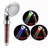 Cisixin 3 Colors Changing Negative Ionic Filter Chlorine LED Shower Head with Changing Water Temp Bathroom LED Light Top Spray Shower Head