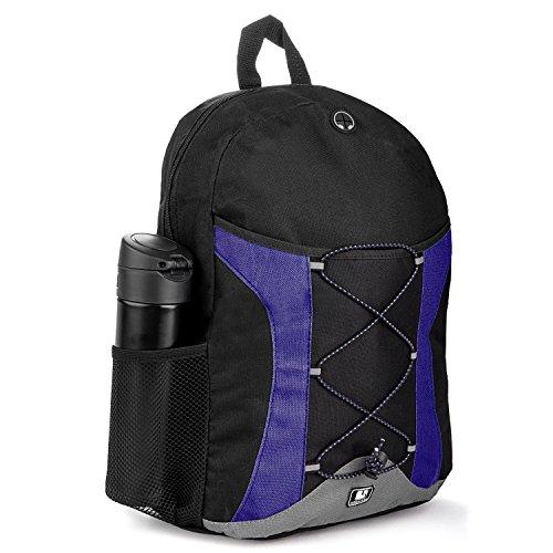 SumacLife Canvas Athletic Laptop Bag / Shoulder Bag / School BackPack (Blue/Black)