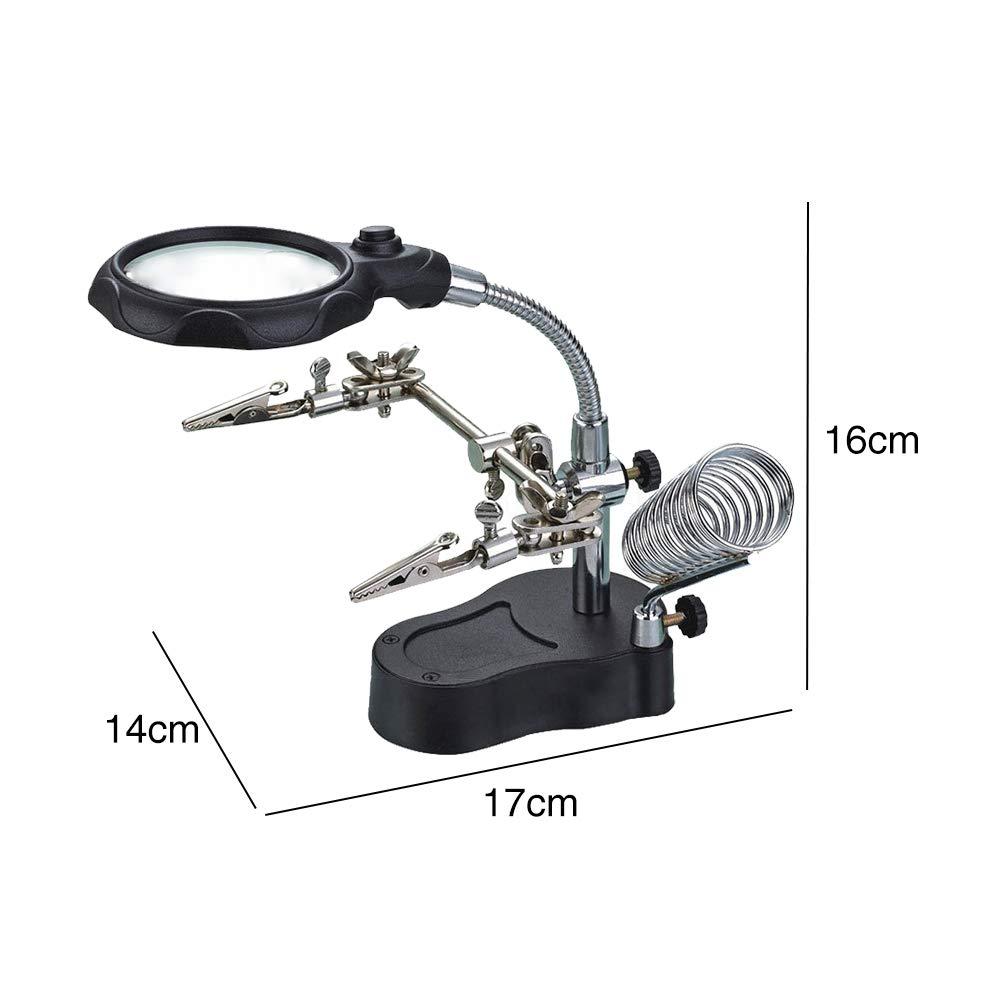 Lupenhalter Lupe L/ötkolben St/änder Desktop Multifunktionale Einstellbare Werkstattreparatur Mit Zusatzclip Langlebig Handreichung LED-Licht 360 Grad