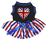 Cheap Petitebella Puppy Dog Clothes Flag of Britain Heart Black Shirt RWB Stripe Dress (XX-Large)