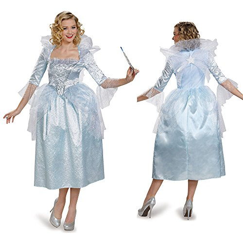 Disguise Women's Fairy Godmother Movie Adult Deluxe Costume, White, (Cinderella Fairy Godmother Costume)