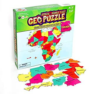 GeoToys — GeoPuzzle Africa and the Middle East — Educational Kid Toys for Boys and Girls, 65 Piece Geography Jigsaw Puzzle, Jumbo Size Kids Puzzle — Ages 4 and up