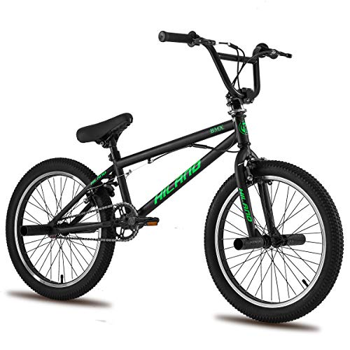 Hiland Kids BMX Bike for Boys Teenager Girls Freestyle Bicycle with Pegs 360 Rotor Double U-Brakes Black